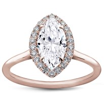 Plain Band Marquise Halo Engagement Setting | R3012