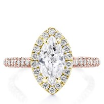 Custom 3 Row Pave Engagement  Setting Yellow  Halo | R3082