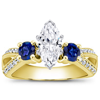 Sapphire Accented Pave Engagement Setting | R2771S