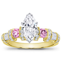 Pink Sapphire, Baguette, And Pave Setting | R2782P