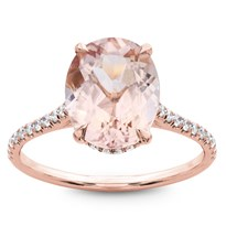 Morganite French Cut Pave Engagement Ring