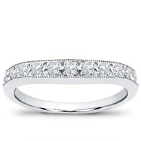 Curved Pave Set Wedding Band