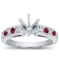Milgrain and Pave Ruby Engagement Setting