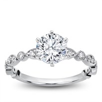 Vintage Leaf  Diamond Engagement Setting , $750