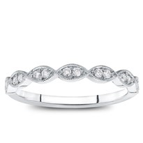 Milgrain Leaf Diamond Wedding Band, $725