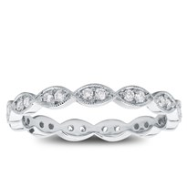 Milgrain Leaf Diamond Eternity Band, $1,050