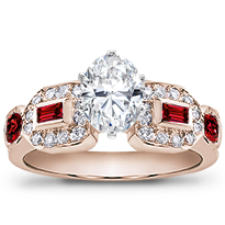 Baguette, Pave, And Ruby Engagement Setting | R2451R