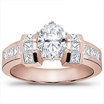 Channel-Set Princess Cut Engagement Setting | R2205