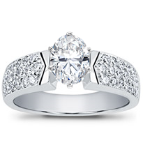 Pave-Set Diamond Engagement Setting | R2735