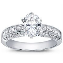 Pave And Princess-Cut Diamond Setting | R2809