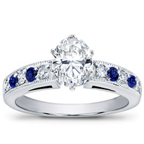 Milgrain And Pave Sapphire Engagement Setting | R2773S
