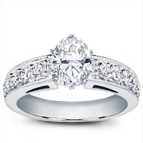 Large Milgrain And Pave Engagement Setting | R2936