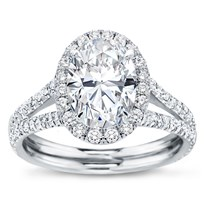 Split Shank Halo Setting For Oval Diamond | R2989