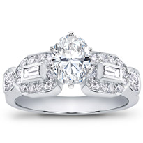 Baguette And Pave Engagement Setting (0.58 Cttw) | R2451