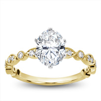 Vintage Leaf  Diamond Engagement Setting | R2994