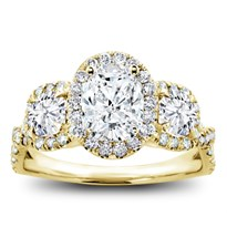 3 Stone Halo Diamond Engagement Setting For Oval | R3024