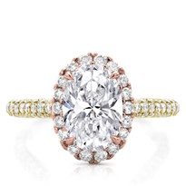 Custom 3 Row Pave Engagement Setting  Rose Halo | R3081