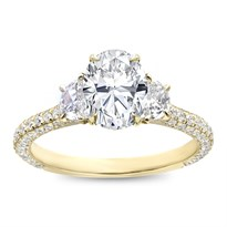 3 Row Pave Half-Moon Engagemnent Ring Setting | R3122