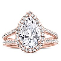 Split Shank Halo Setting For Pear Shape Diamond | R3047