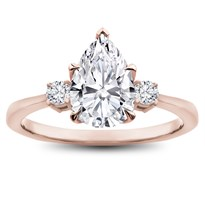 Dainty Round 3 Stone Engagement Ring Setting | R3142