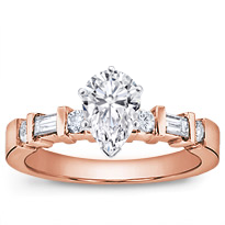 Baguette And Round Engagement Setting | R2738