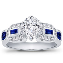 Baguette, Pave, And Sapphire Engagement Setting | R2451S
