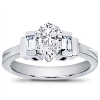 Baguette Accented Diamond Engagement Setting | R2687