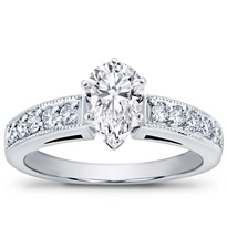 Petite Milgrain And Pave Engagement Setting | R2773