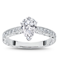 Hand Engraved Tapered Diamond Ring 1/4ct | R2984