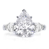 3 Stone Engagement Ring Setting With Pears | R3031