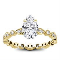 Vintage Leaf Diamond Eternity Engagement Setting | R2974