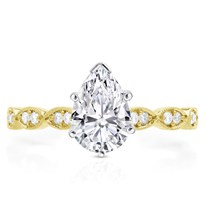 Milgrain Leaf Vintage Engagement Ring Setting | R3017
