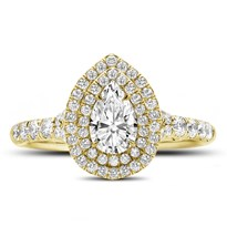 Pear Shape Double Halo Engagement Ring Setting | R3113