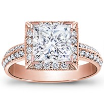 Pave Engagement Setting For Princess Cut Diamond | R2662