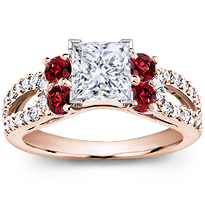 Ruby And Pave Engagement Setting | R2911R