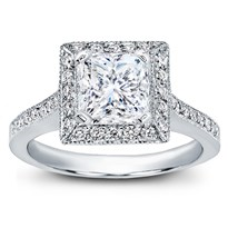 Square Halo Pave-Set Engagement Ring | R2916