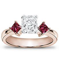 Princess Cut Ruby Accented Engagement Setting | R2145R