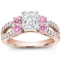 Pink Sapphire And Pave Engagement Setting | R2911P