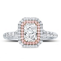 Rose And White Double Halo Engagement Setting | R3069