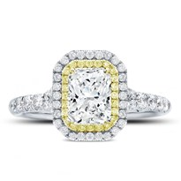 Yellow And White Diamond Double Halo Setting | R3070