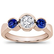 Sapphire Accented Bezel Set Engagement Setting | R2588S