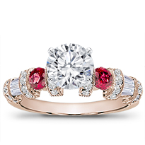 Ruby, Baguette, And Pave Setting | R2782R