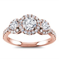 Three Stone Halo For Round Diamonds | R3029