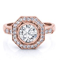 Vintage Inspired Octagon Halo Engagement Setting | R3045