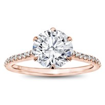 6 Prong Basket Pave Band Engagement Setting | R3057
