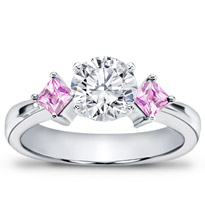 Princess Cut Pink Sapphire Accented Setting | R2145P