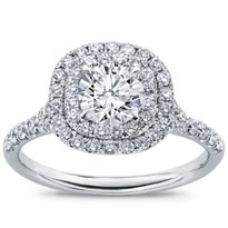 Cushion Double Halo Split Shank Diamond Ring | R2971
