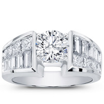 Princess-Cut And Baguette Engagement Setting (2.12 Cttw) | R2466