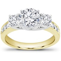 Round Diamond Three-Stone Trellis And Pave Setting | R2799