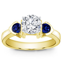 Bezel Set Engagement Setting With Two Sapphires | R2492S